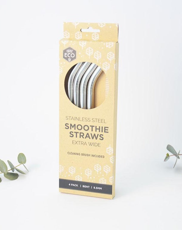 Extra Wide Stainless Steel Smoothie Straws 4 pack bent with cleaning brush