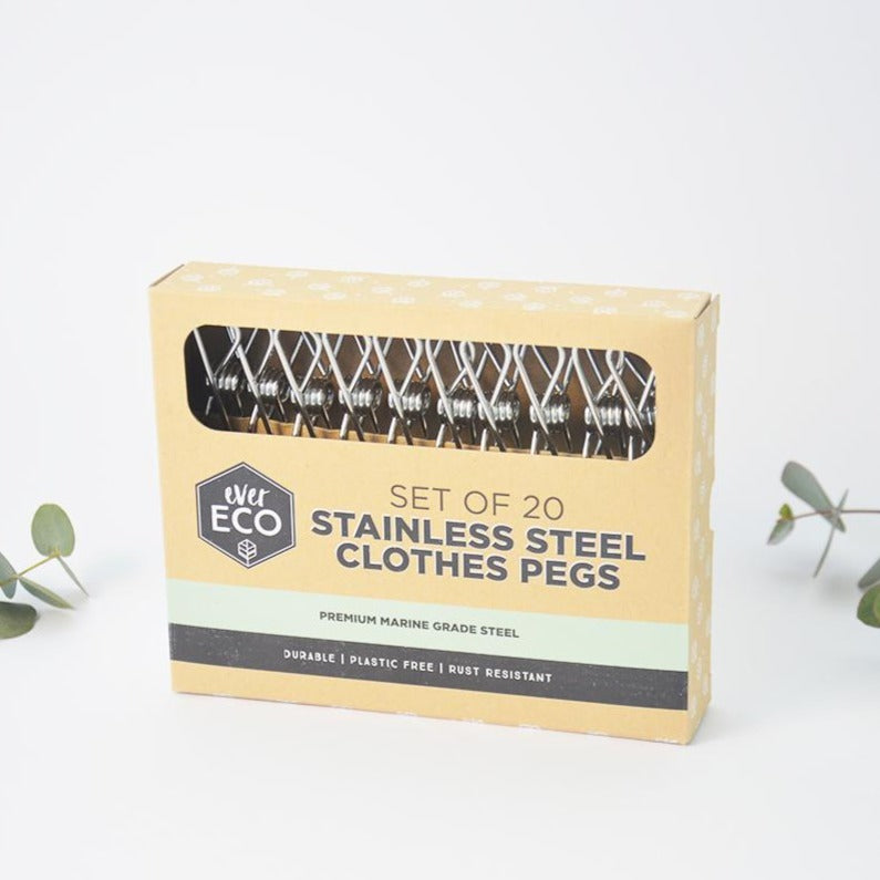 Durable Stainless Steel Clothes Pegs Rust Resistant20 pack