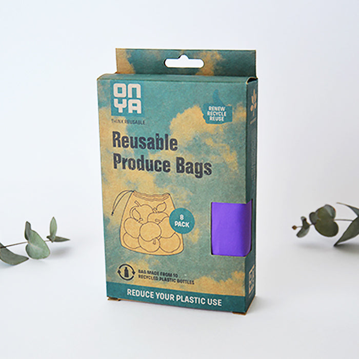 Reusable Produce Bags Reusable Washable Made from Recycled Plastic 8 pack with carry pouch