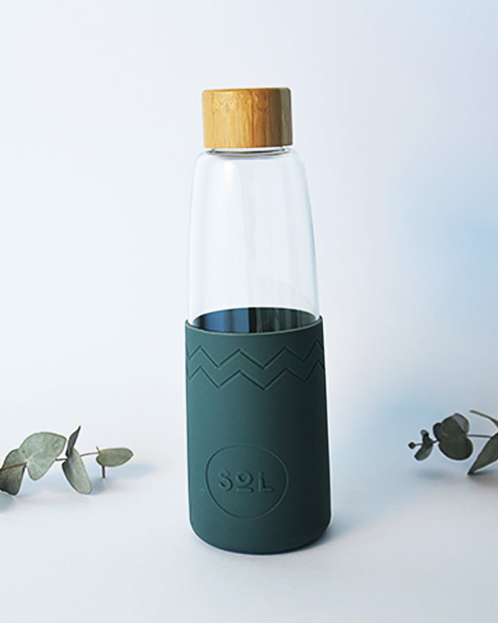 Hand Blown Glass Water Bottle Reusable with Bamboo Lid and Silicone Protective Sleeve