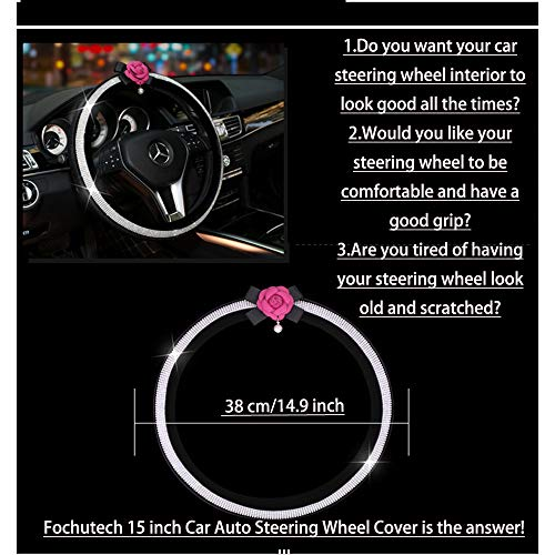 Fochutech Steering Wheel Cover Crystal Studded Rhinestone Bling Steering Wheel Cover Breathable Anti Slip Odorless Warm In Winter And Cool In