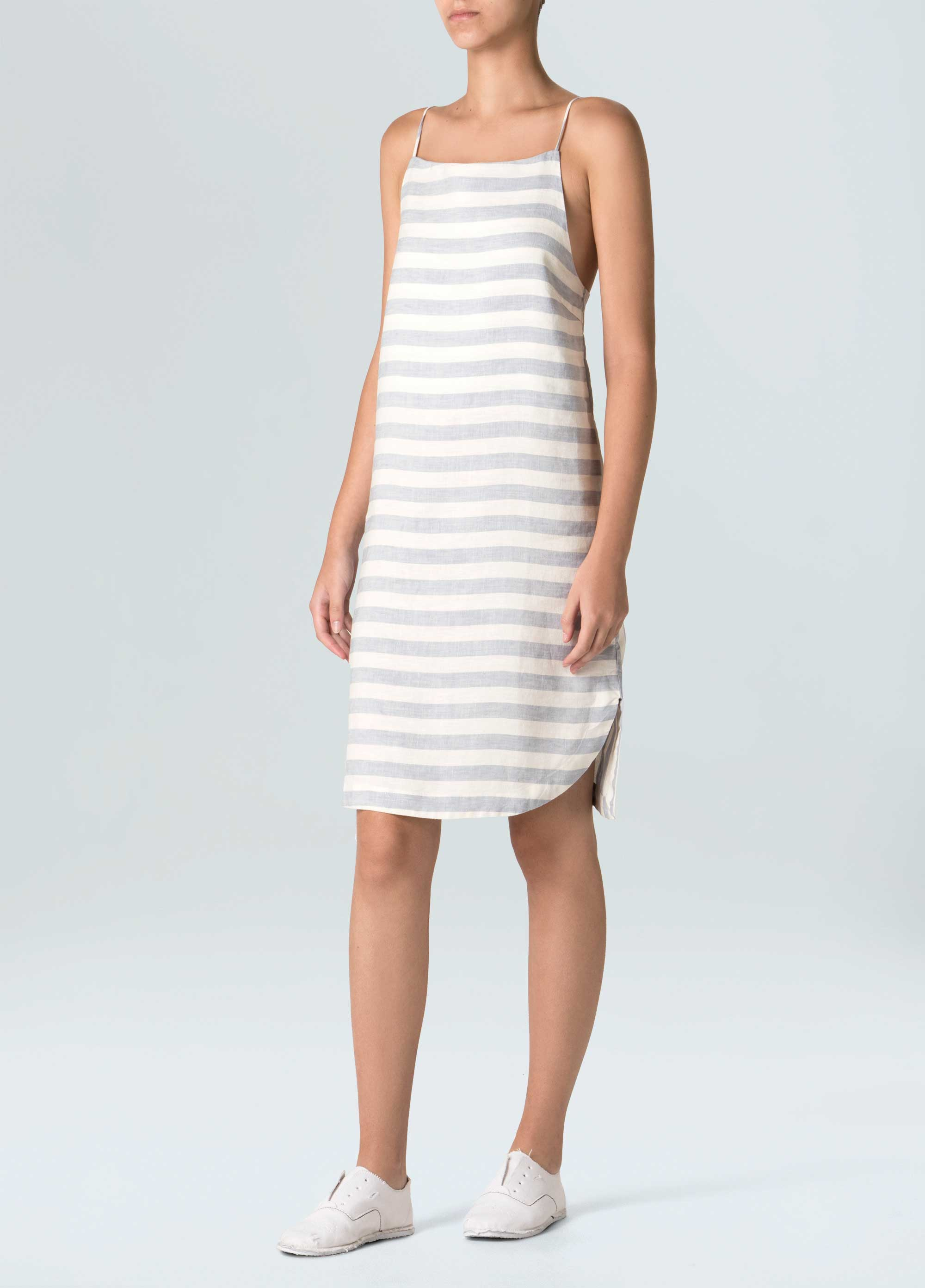 Women's Striped Linen Strap Dress