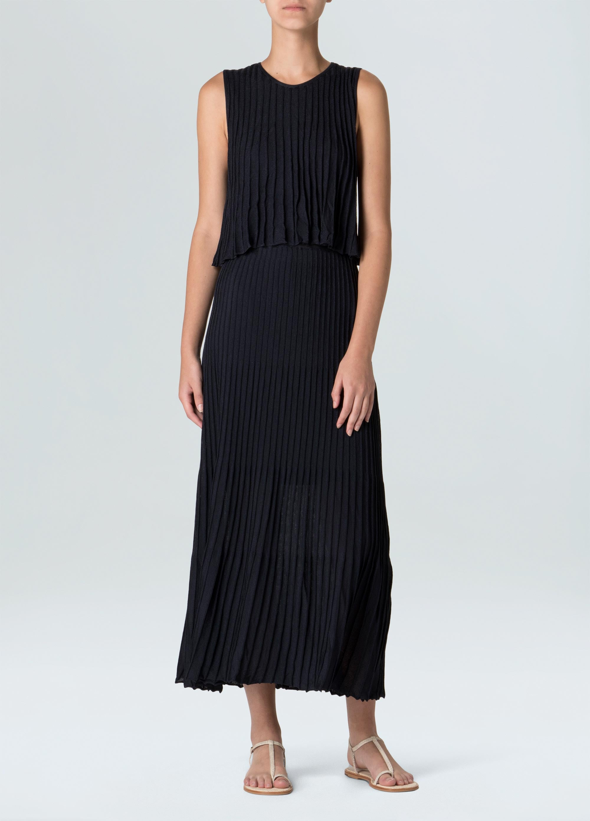 Fluid Sleated Knit Dress