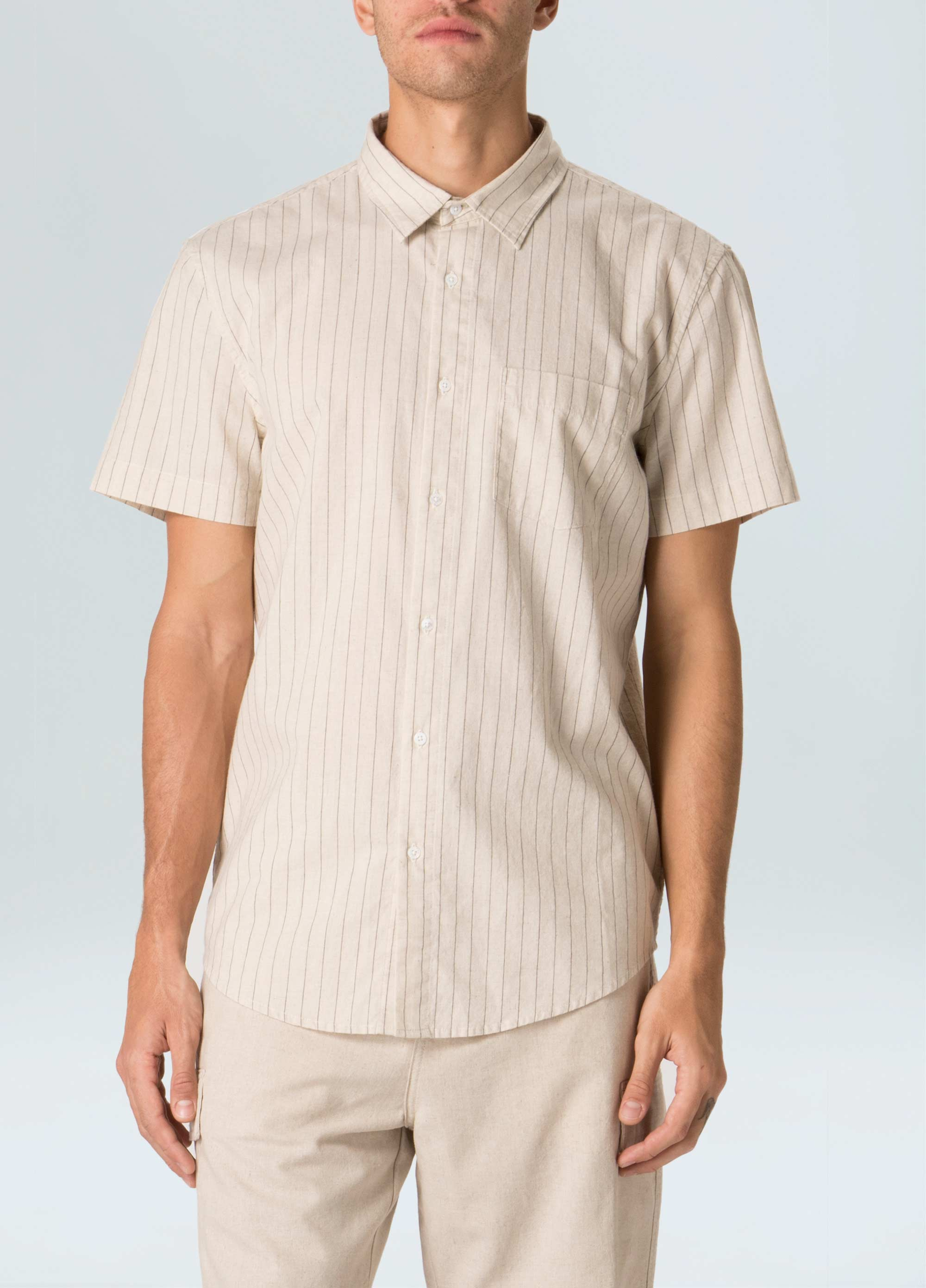 Thin Stripes Cotton Linen Shirt