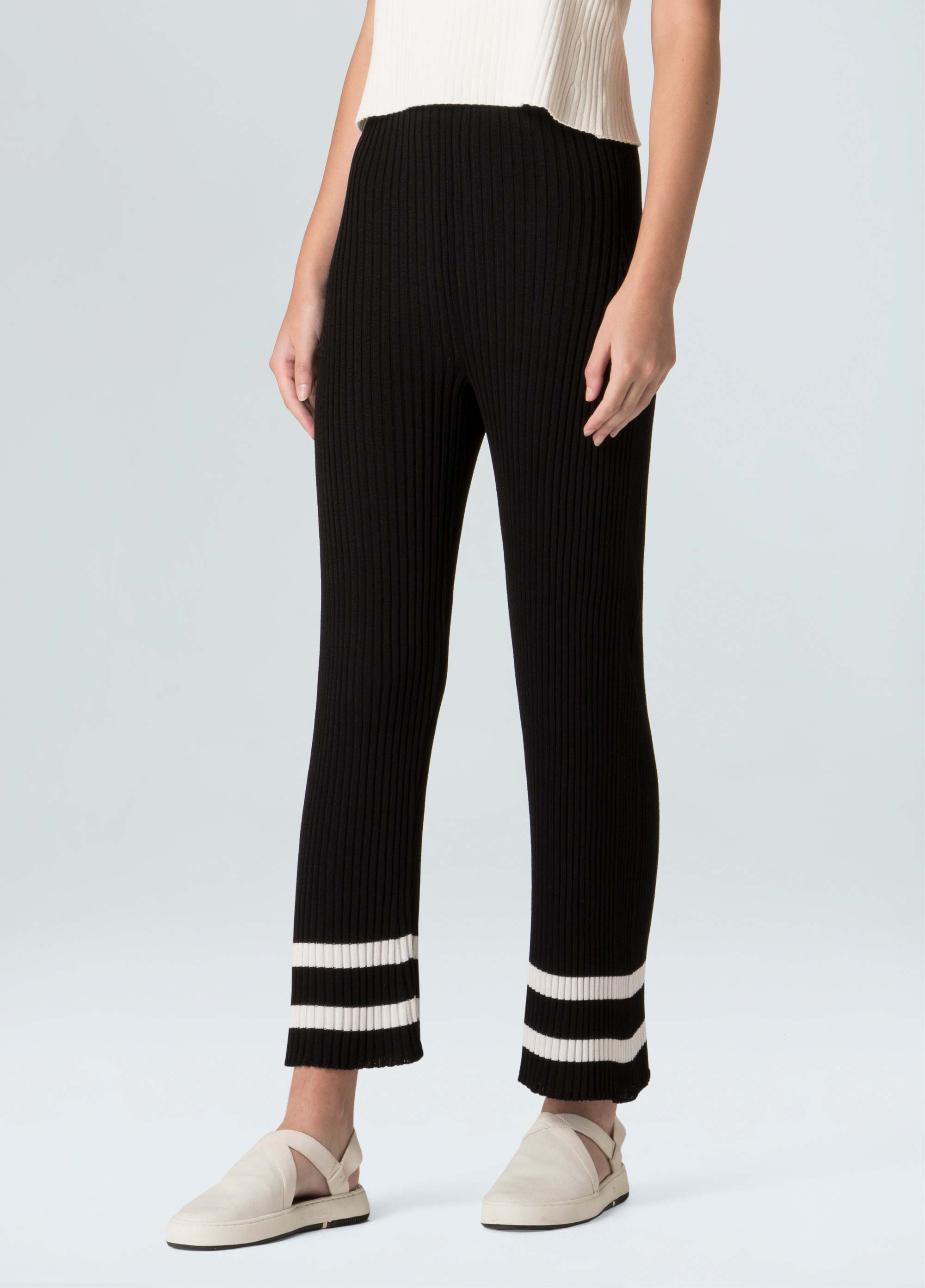 White Stripe Crop Trousers