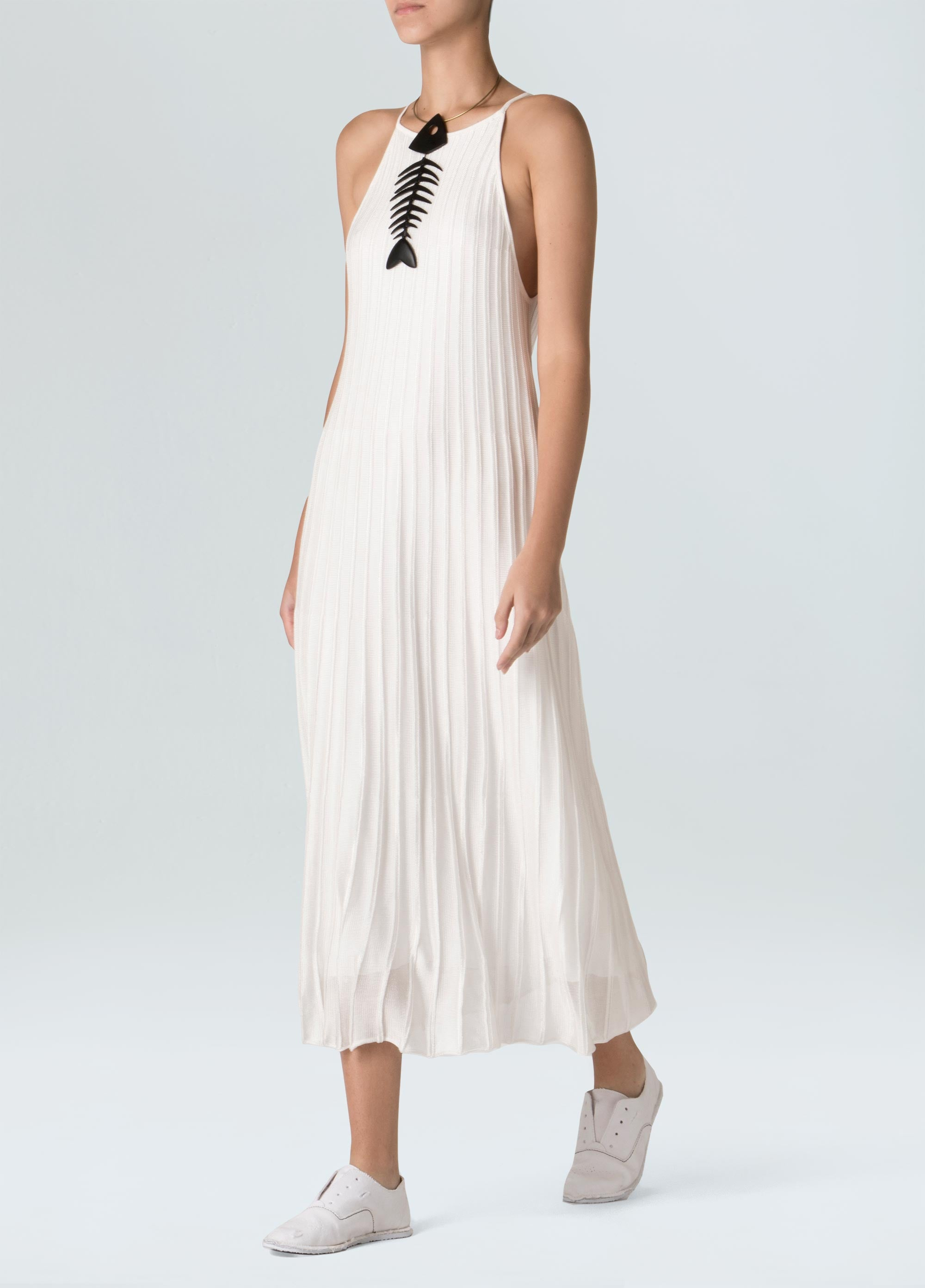 Women's Pleated Knit Midi Halter Dress