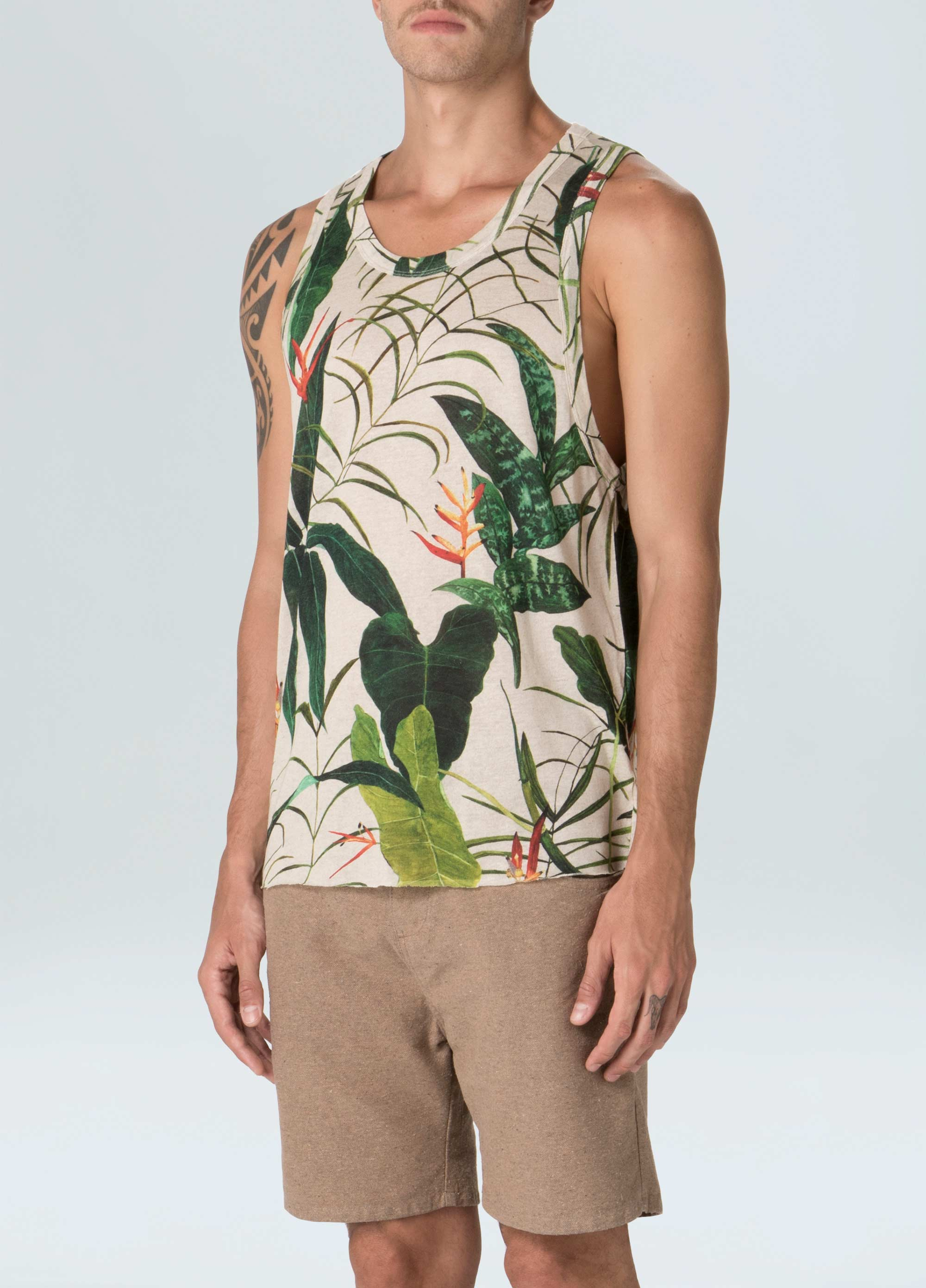 Linen Heliconia Tank top
