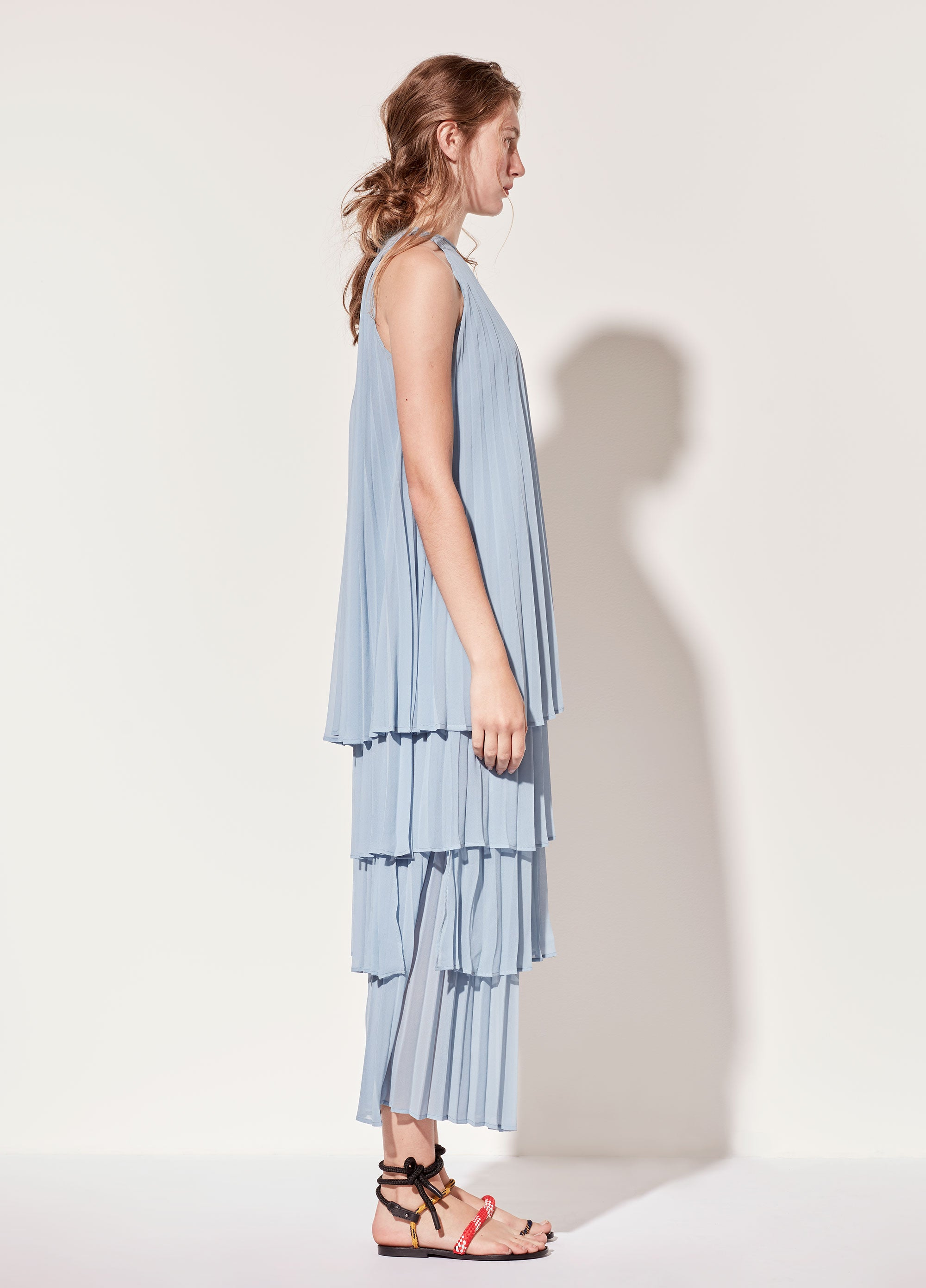 Light Blue Pleated Pants