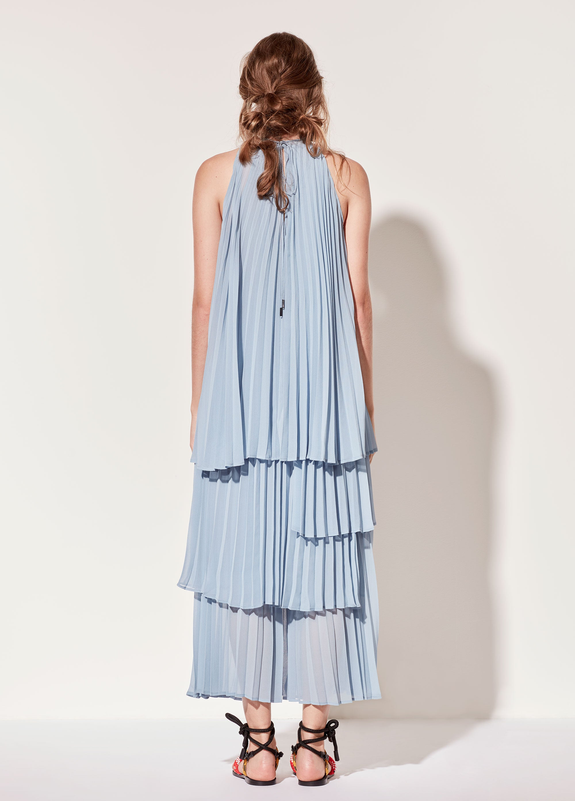 Pleated Top in Light Blue