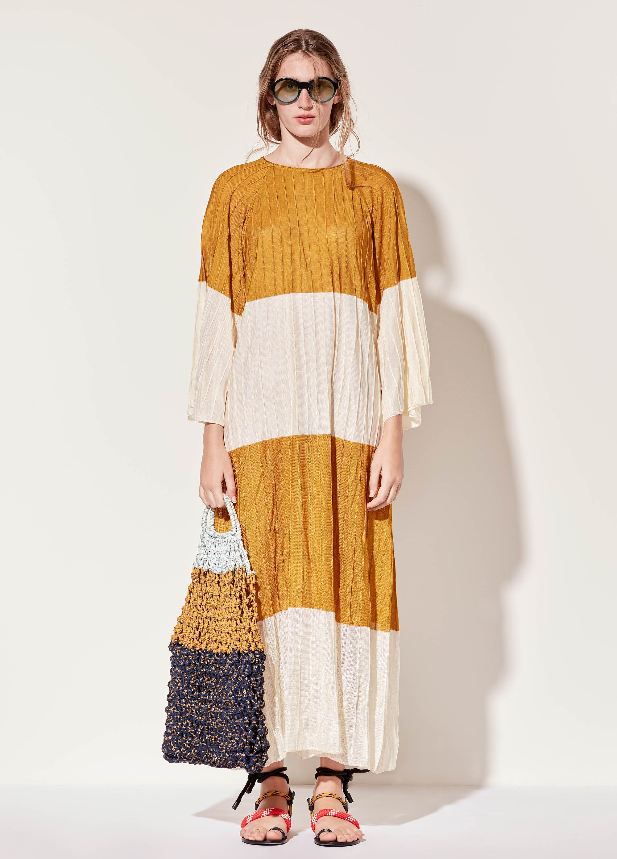 L/S Pleated Striped Dress