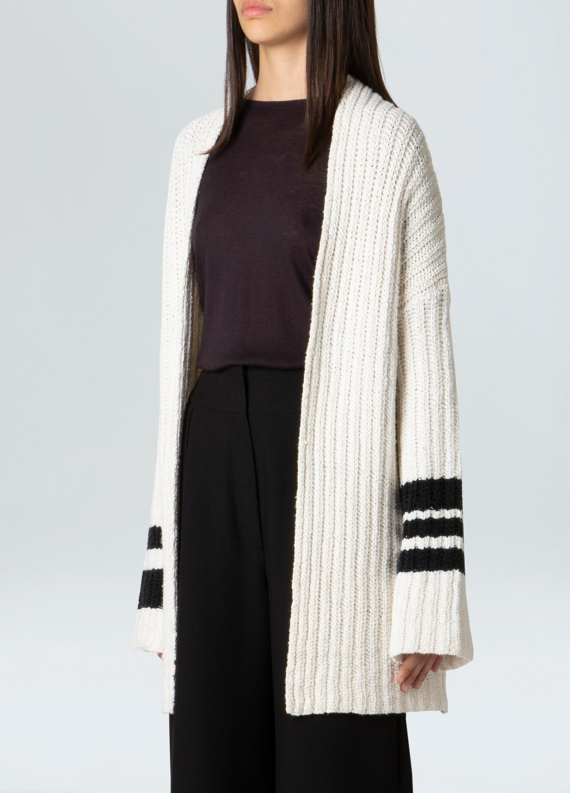 WOMENS OVER STRIPES E-FABRICS CARDIGAN