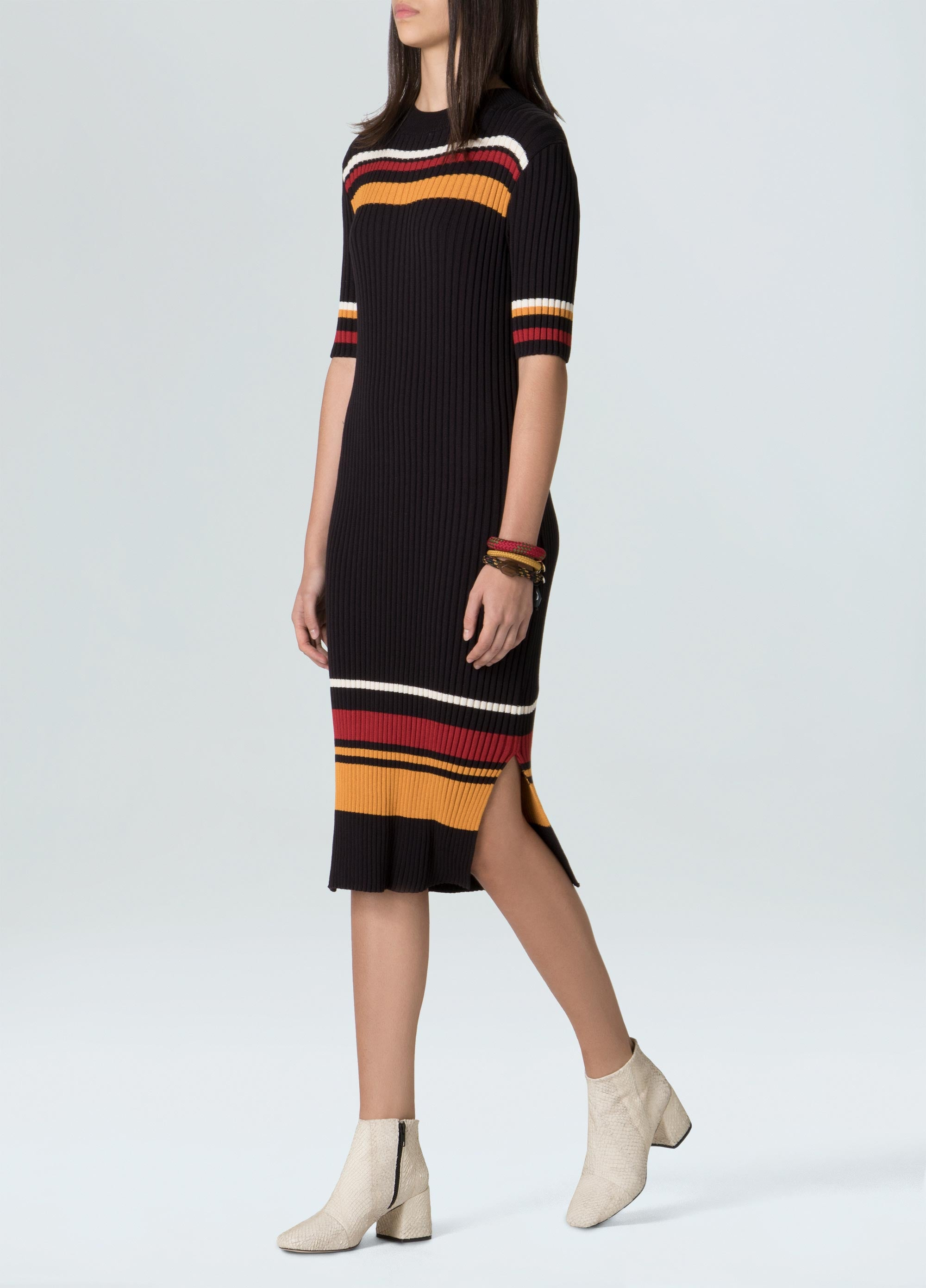 STRIPES KNIT MIDI DRESS