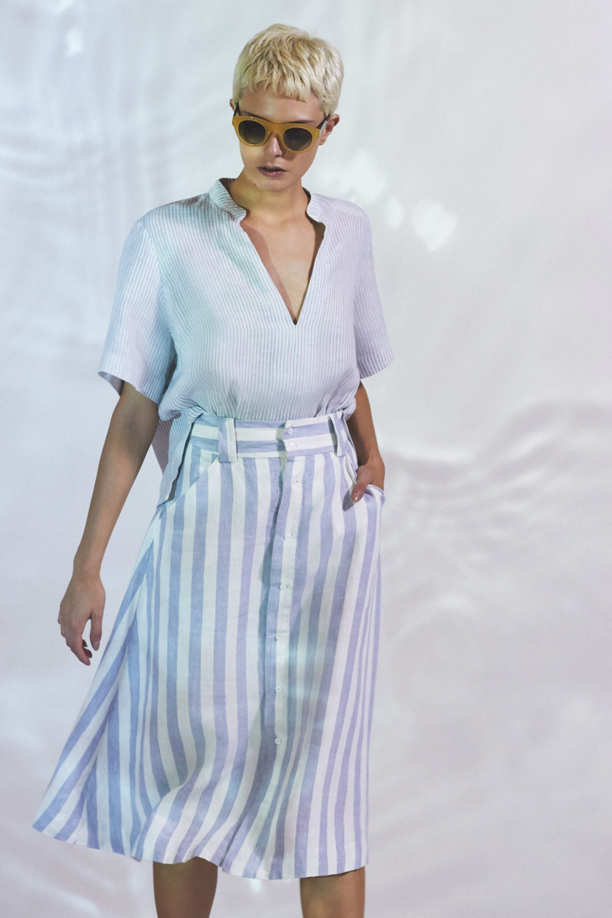 Women's Linen Striped Midi Skirt