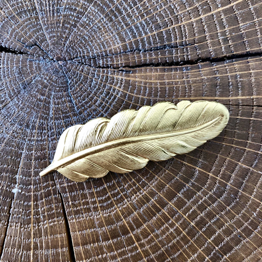 Broche Plume oiseau dorée Evesome - Evesome Golden Bird Feather Brooch