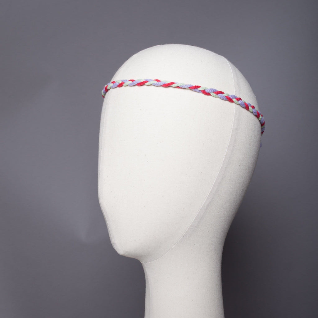 Mini natte  headband tricolore maille mousseuse 100% cachemire