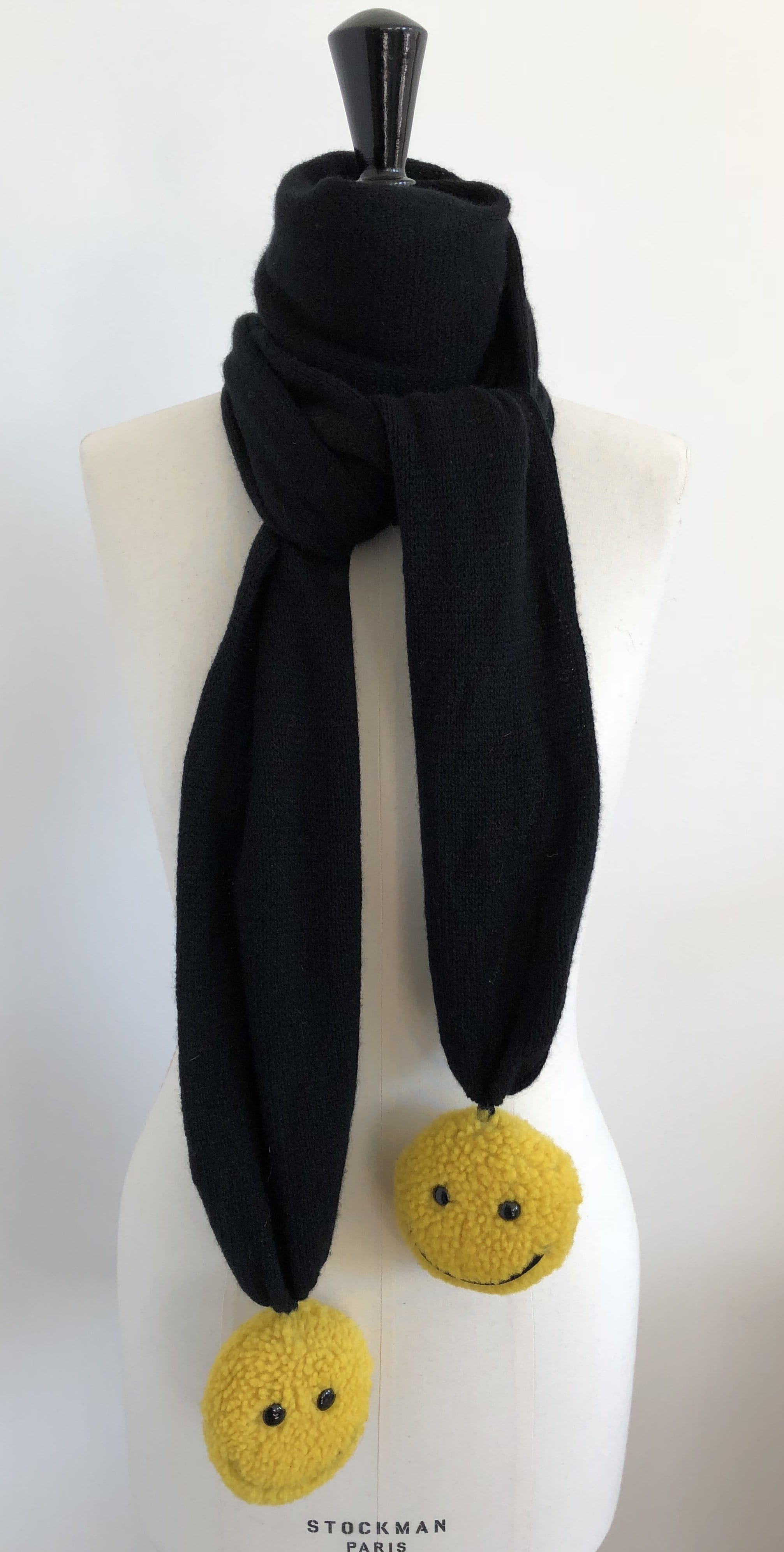 Écharpe Evesome maille mousseuse 100% cachemire avec pompons en fourrure de mouton Smiley -  Evesome 100% Cashmere Foam Scarf with Smiley Sheepskin Fur Tassels