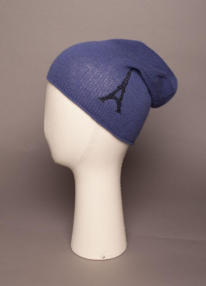 Bonnet surfer Evesome maille mousseuse 100% cachemire broderie Tour Eiffel - Beanie surf Evesome foamy mesh 100% cashmere embroidery Eiffel Tower