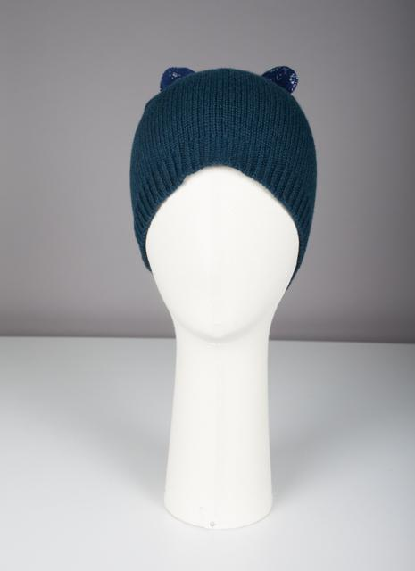 Bonnet Evesome maille serrée 100% cachemire avec oreilles en tweed- Evesome 100% cashmere tight mesh beanie with tweed ears