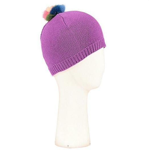 Bonnet Evesome maille serrée 100% cachemire avec pompon arc-en-ciel - Evesome 100% cashmere tight knit beanie with rainbow pompom