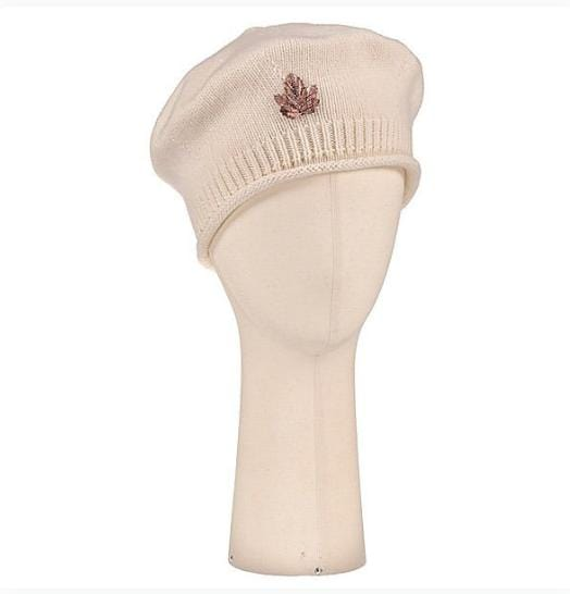 Béret Evesome maille serrée 100% cachemire avec broche feuille cuivrée - Beret Evesome 100% cashmere tight mesh with copper leaf brooch