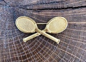 Broche Raquettes de tennis dorée Evesome - Brooch Evesome Golden Tennis Racquets