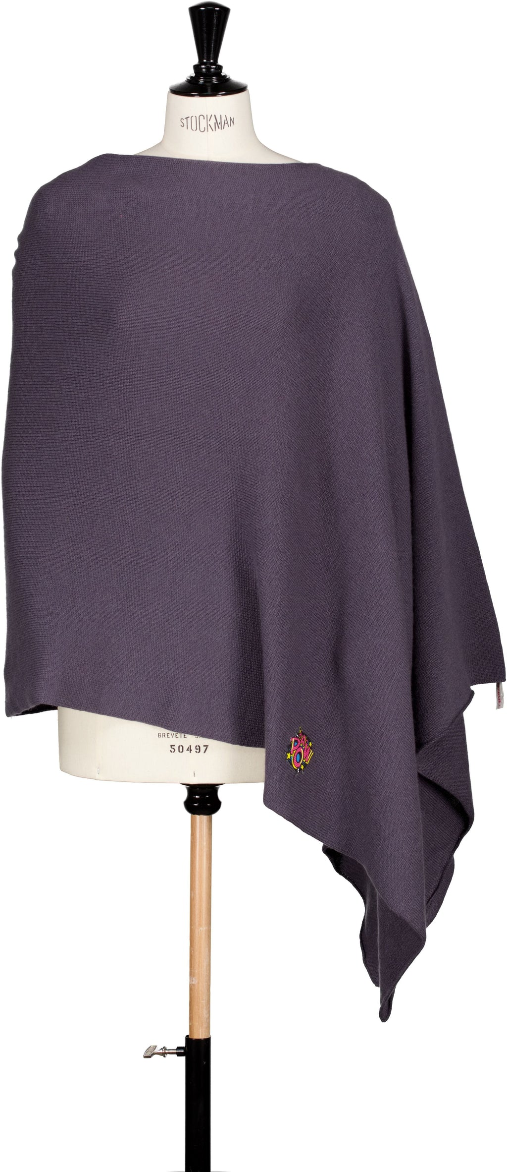 Maxi poncho avec patch Evesome maille serrée 100% cachemire - Maxi poncho with Evesome patch tight mesh 100% cashmere