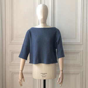 Pull court manches courtes 58% cachemire 42% lin