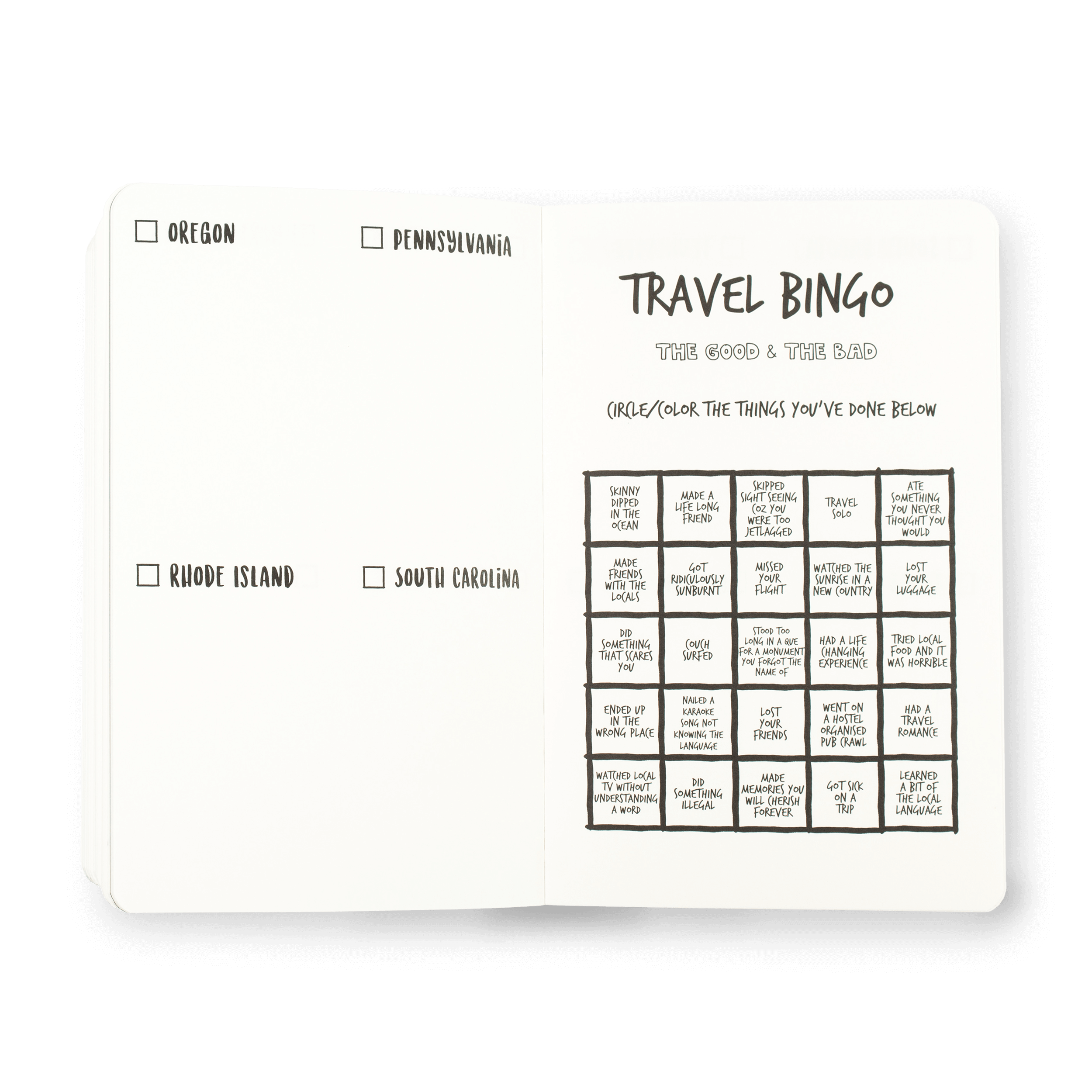 The Adventure Book pages travel bingo 50 United States of America USA Travel Journal