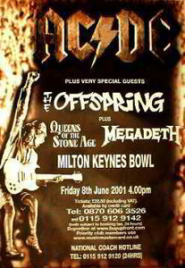 Promo Poster 8.06.2001.Offspring - Megadeth - AC/DC Posters