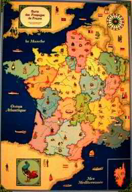 Map of the French Cheese Posters
