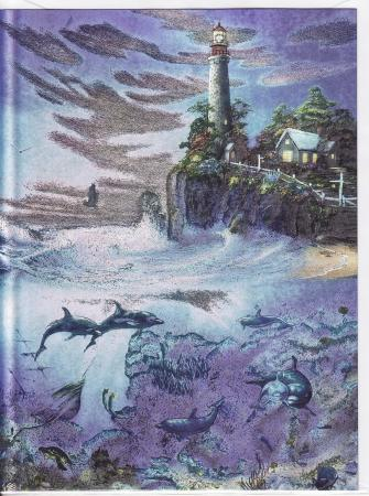 DUFEX Wishing Card. Dolphins with Lighthouse Wish Cards