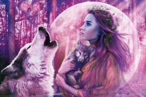 Howling Wolf and Pup, Harvest Moon Posters