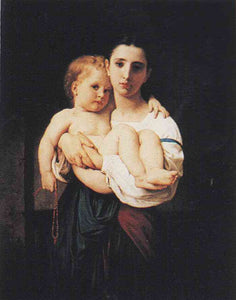 The Elder Sister (1864).William Bouguereau Posters