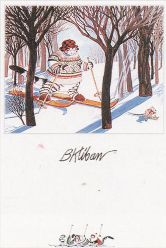 B.Kliban(1935-1990) -Tabby Cat skiing with Mouse Posters