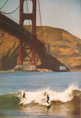 Bridge with Surfers Posters