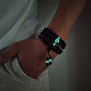 Beads Dragon Black Buddha Glowing in the Dark Bracelet