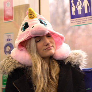 Cartoon Unicorn Neck Rest U-Shaped Travel Hooded Pillow