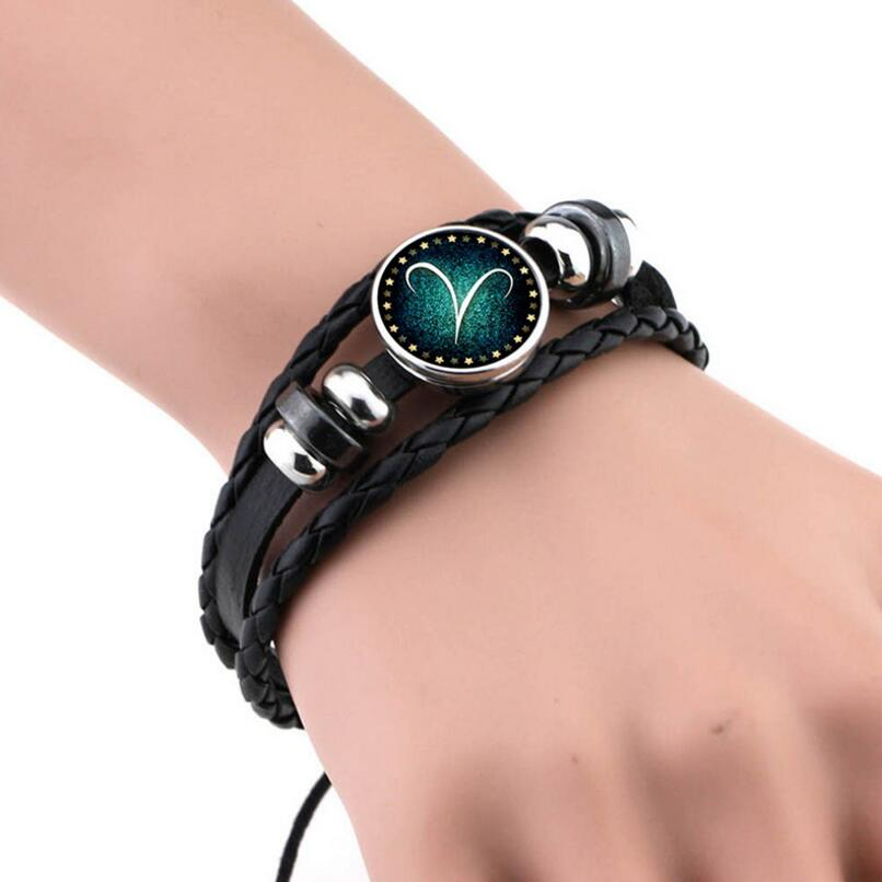 Constellation Bracelet Braided Leather Weave