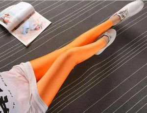 Solid Color Fluorescent Shiny Leggings