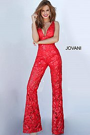 JOVANI 00474 V-Neck Embellished Jumpsuit