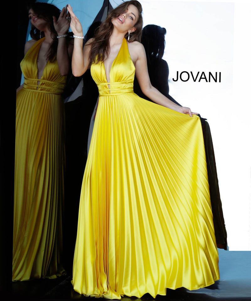 JOVANI 006370 Backless Pleated Satin Evening Dress - CYC Boutique
