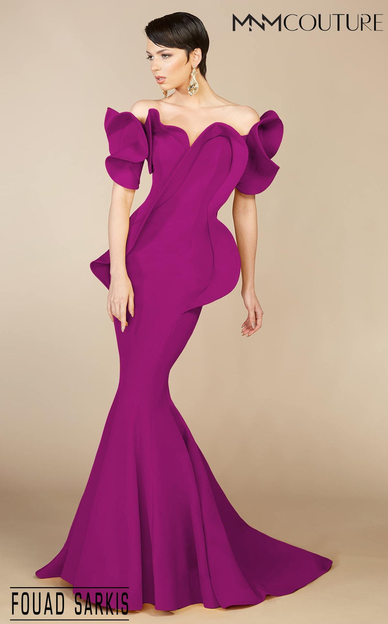 MNM Couture 2328 Fouad Sarkis Off Shoulder Evening Dress - CYC Boutique