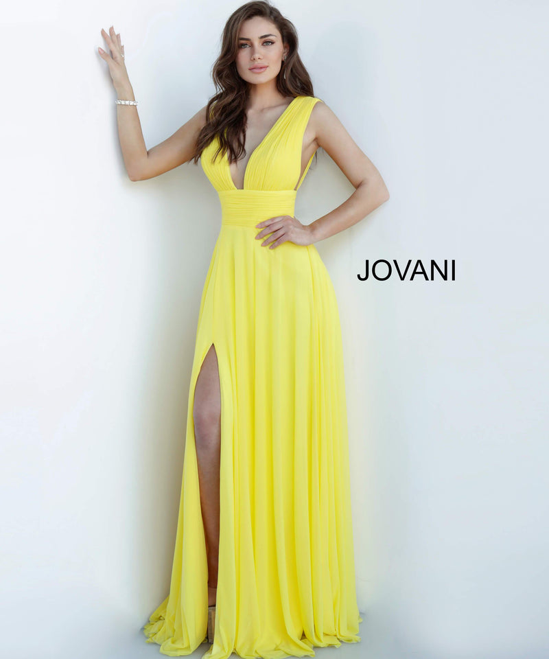JOVANI 2585 Chiffon Plunging Neckline Evening Dress - CYC Boutique
