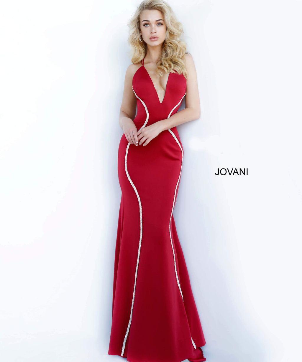 JOVANI 3040 Criss Cross Back Fitted Evening Dress