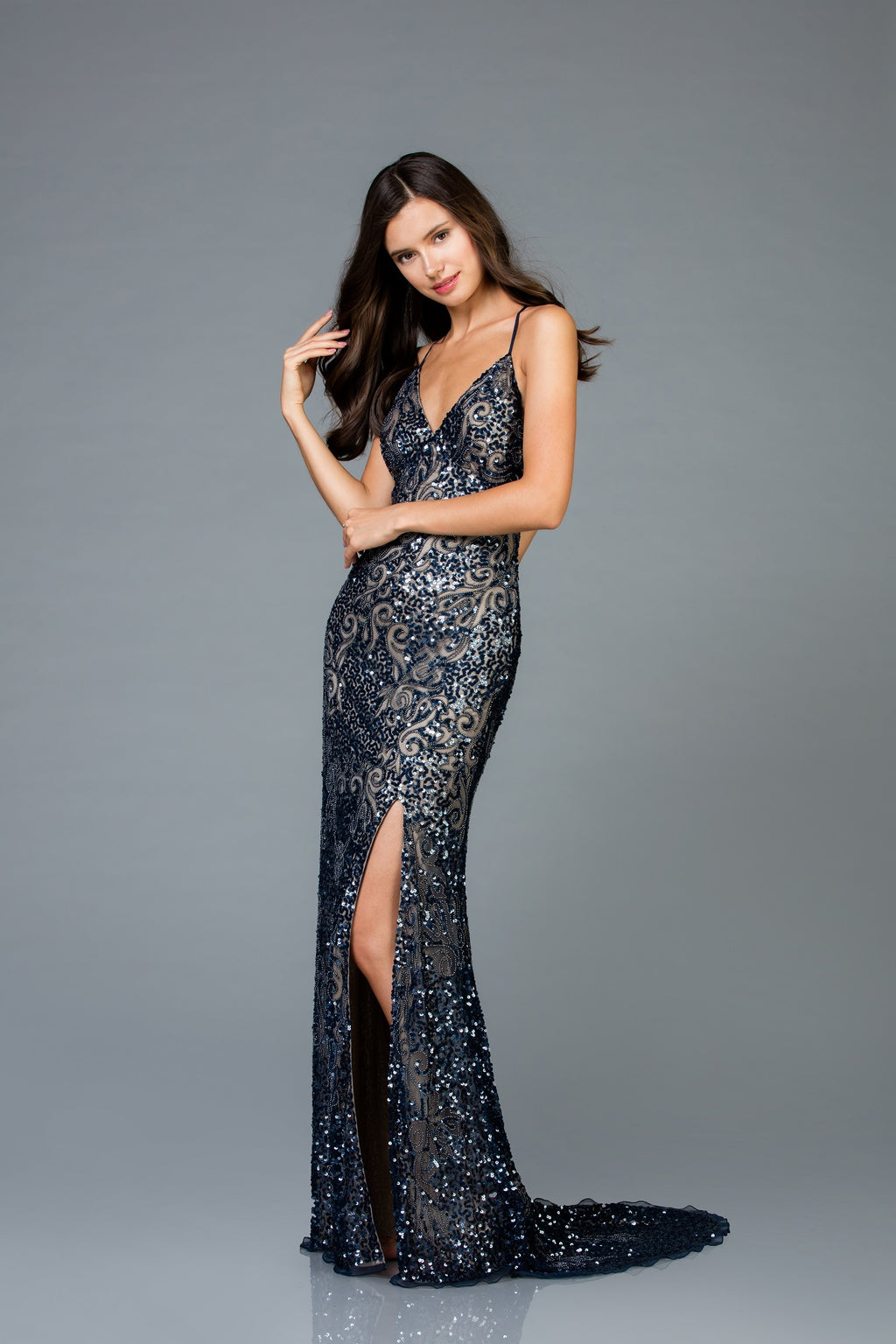 Scala 48977 Sequin Evening Dress