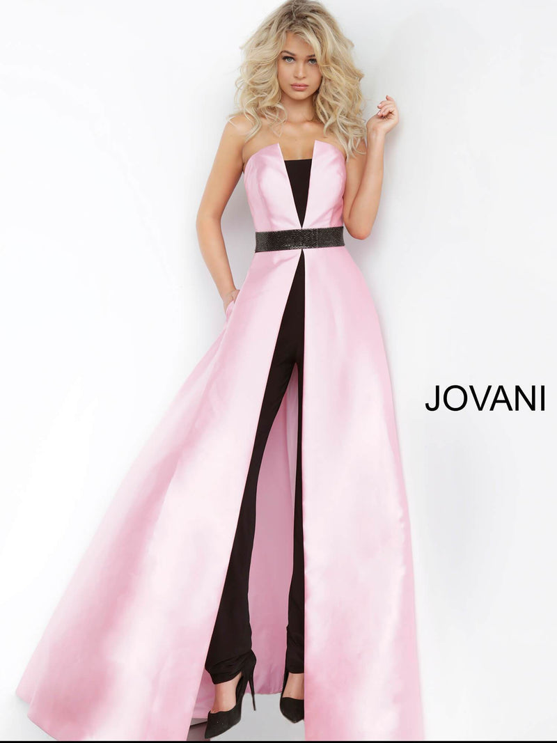 JOVANI 1799 Strapless Jumpsuit with Long Overskirt - CYC Boutique