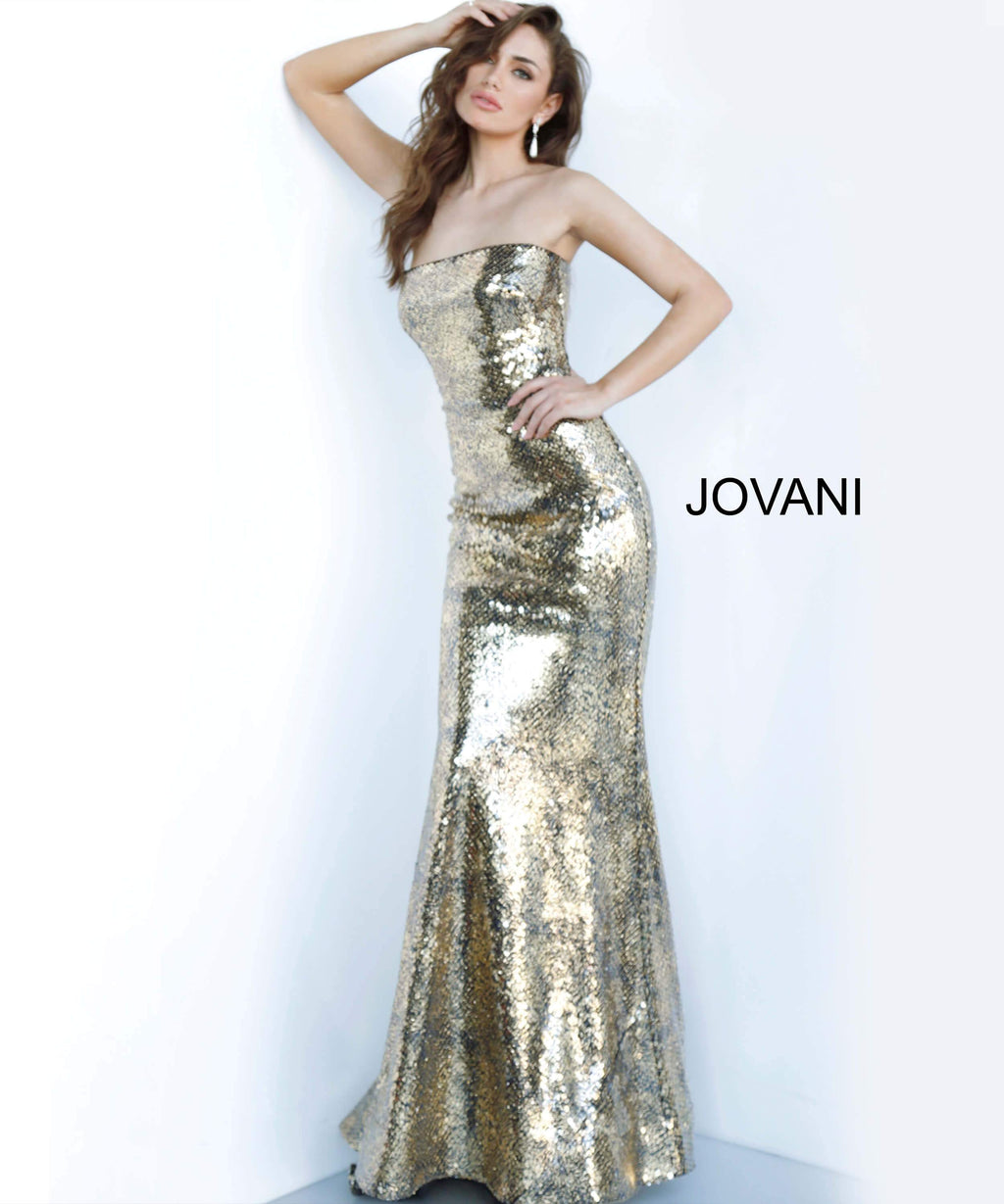 JOVANI 3390 Strapless Metallic Evening Dress