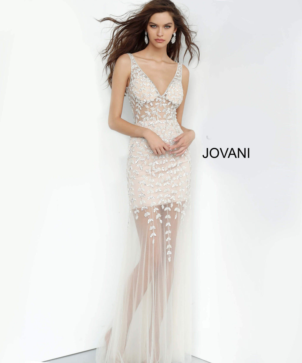 JOVANI 3959 Off White/Nude Beaded V-Neck Evening Dress - CYC Boutique