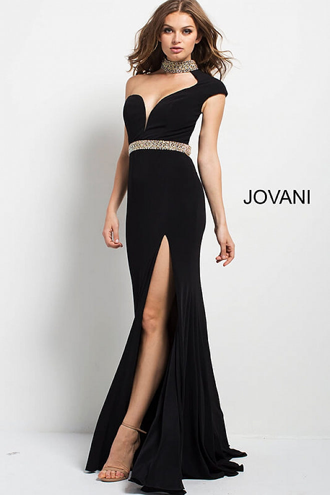 JOVANI 49267 One Shoulder Plunging Neck Jersey Pageant Dress