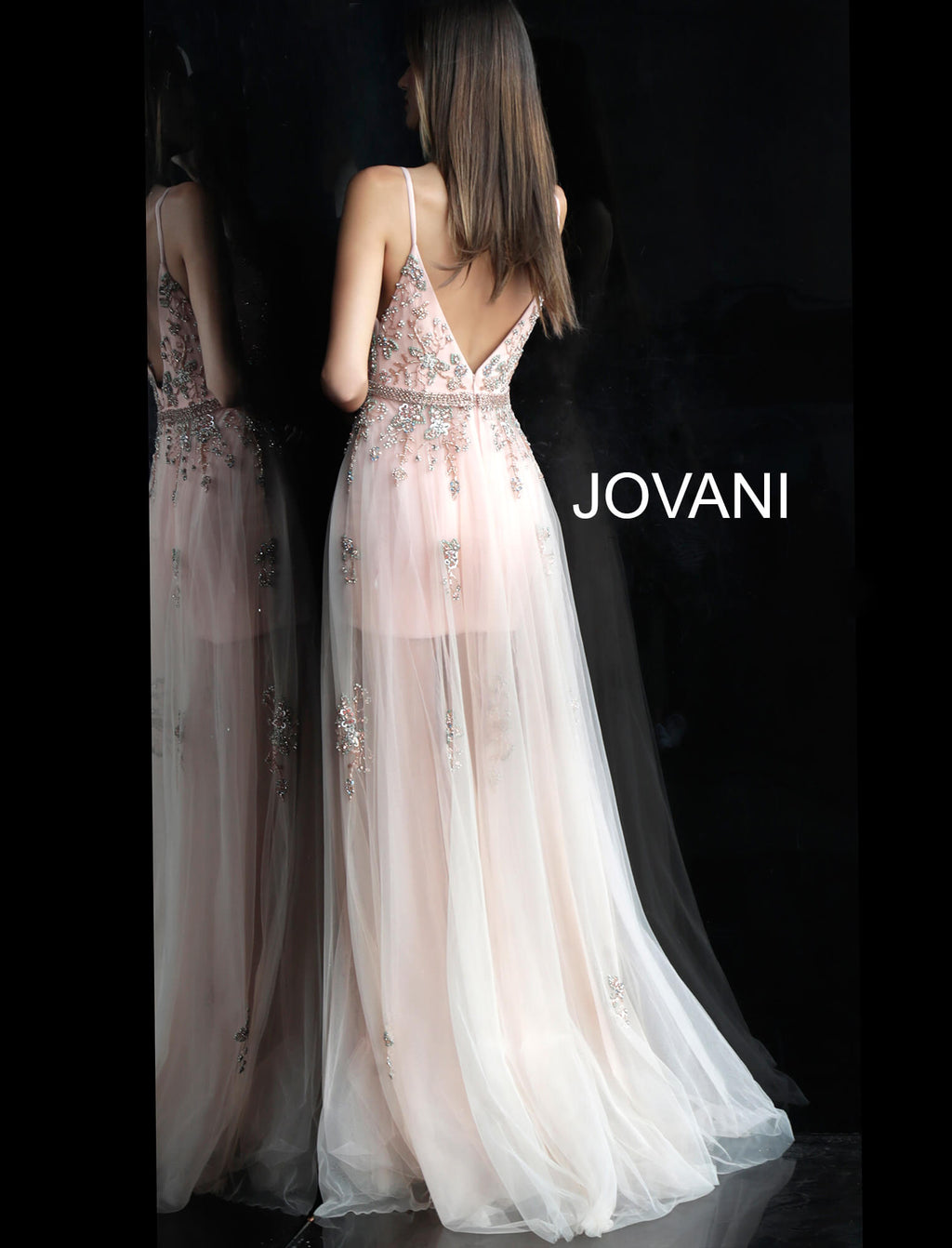JOVANI 55621 Plunging Neckline Evening Dress